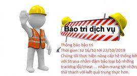 Thông báo bảo trì hệ thống kết nối với Strava